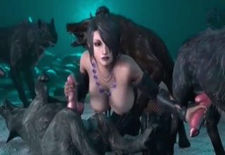 3D bestiality action with a whore and a wolf
